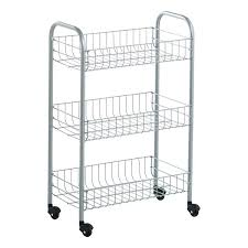 silver 3 tier rolling cart wire carts shelves