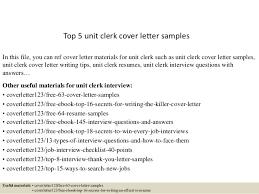 Unit Clerk Cover Letter Top 5 Unit Clerk Cover Letter Samples
