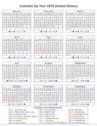 Year Calendar 2019 Template Us Holidays Printable 2018 Calendars