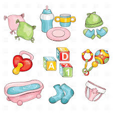 Baby Things Clipart Set Of Cartoon Baby Things Diapers Pacifier Rattle Bath Etc