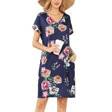 Jual Bluelans <b>Women Summer</b> Casual V Neck Short Sleeve <b>Floral</b> ...