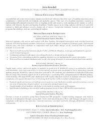 Teacher Resume Objective Sample Special Education Resume Objective Blaisewashere Com