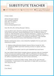 Cover Letter Substitute Teacher Attractive Substitute Teacher Cover Letter As Prepossessing