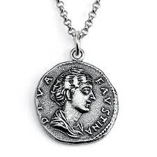 925 sterling silver replica faustina roman coin pendant necklace