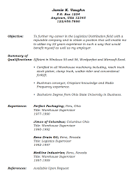 warehouse supervisor sample resume objective warehouse    warehouse supervisor