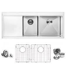 Bai 1234 Handmade 48 Inch Top Mount Double Bowl With Drainboard 16
