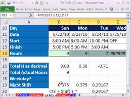 Hour Sheet Calculator Excel Magic Trick 718 Calculate Hours Worked Day Or Night Shift Subtract Lunch