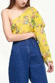 Shop Stradivarius Womens Floral Top Yellow For Clothing In