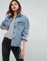 moto oversized denim jacket. asos recycled denim girlfriend jacket in missouri blue wash moto oversized