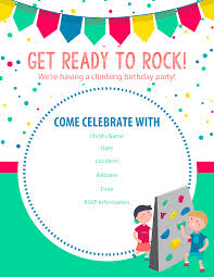 Birthday Party Evites Happy Birthday Free Rock Climbing Birthday Party Invitations