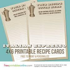 Recipe Cards Print Italian Espresso Coffee Recipe Cards Free Printables Online
