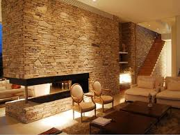 calming modern interiors with stone wall