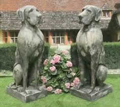 pair of great dane dog statues stone