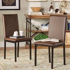 bedford brown faux leather dining chair set of 2