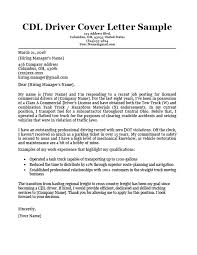 Cdl Driver Cover Letter Sample Writing Tips Resume Companion