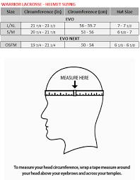 Warrior Lacrosse Helmet Size Chart Warrior