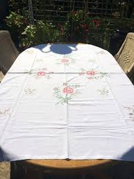 white cotton tablecloth white cotton tablecloth hand embroidered with roses x cm 90 round white cotton