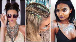 of cool hair and makeup trends you can try just in time for next weekend take a look below to gain some inspiration for this year s festival glitter