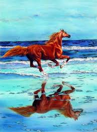 arabian horse running gracefully along the seas over it s own reflection