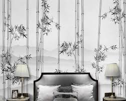 Mznm Custom Any Size Mural 3d Wallpaper Black And White Ink Bamboo