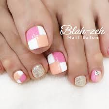 Blah Zeh Nail Salonschool On Twitter 春カラーブロックフット