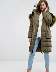 women boohoo faux fur hood padded coat oe88233coats jackets