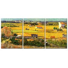 3pcs set van gogh autumn farm canvas print painting yellow field landscape wall art picture for living room decor in painting calligraphy from home