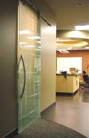 a sandblast etched sliding door adds texture and interest to a dental office