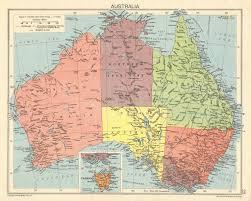 Second World War Australia States Territories 1942 Old Vintage Map Chart