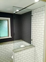 small arts and crafts 3 4 white tile and subway tile tub shower combo