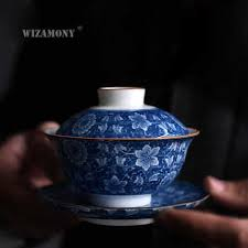 1PCS WIZAMONY 160ml Blue and white Gaiwan Chinese Ancient ...