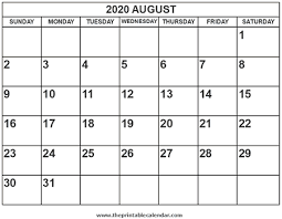 Printable 2020 August Calendar