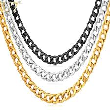 u7 cuban gold color chain for men hip hop jewelry whole 5mm black snless steel curb chain necklace n396