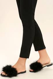 cute black slide sandals feather slide sandals kitten heel sandals 23 00