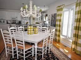 white french country dining area with green striped curtains