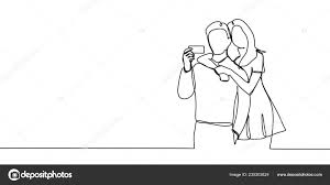 Couple One Line Drawing Continuous Style Vector Illustration Man
