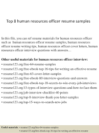 top 8 human resources officer resume samples in this file you can ref resume materials sample resume human resources
