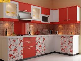Red White Kitchen L Shape Kitchen Espiq Kuchen Bangalore