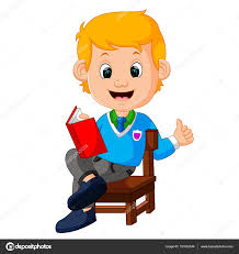 kids boy reading book stock vector