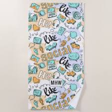 cool beach towel designs. Cool Social Media Custom Monogram Beach Towel - Patterns Pattern Special Unique Design Gift Idea Diy Designs