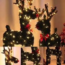 How To Plug In All Christmas Lights 30 40 50 60cm Vintage Christmas Reindeer With 10m Led Holiday Light Artificial Grass Decor Us Plug