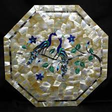 marble coffee table mother of pearl inlay peacock design handmade pietra dura art