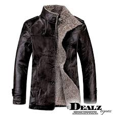 new winter mens fur stand collar thickening wool windbreak waterproof leather jackets men s lether coat asian size
