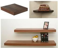 walnut wood effect floating shelf wall