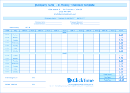 Biweekly Timesheet Template Free Biweekly Timesheet Template Free Excel Templates Clicktime