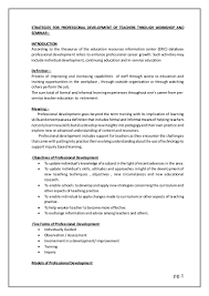strategies for professional development of teachers through workshop