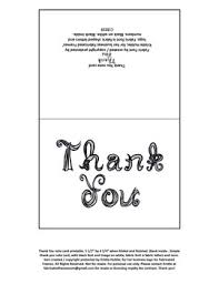 Thank You Black And White Printable Printable Thank You Note Card With Black Fabric Font Letters Blank Inside