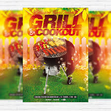 Grill Cookout Premium Flyer Template Facebook Cover