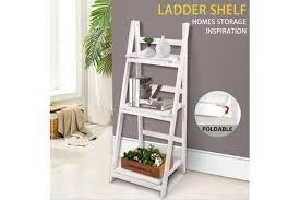3 tier wooden ladder shelf stand storage book shelves shelving display rack kogan com