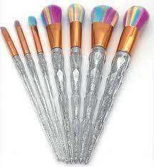 acrylic diamond shape makeup brush set powder blusher eyeshadow eyeliner eyebrow lip brush rainbow golden cosmetic